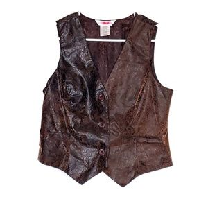 Central Falls Co. Button Faux Leather Tooled Vest